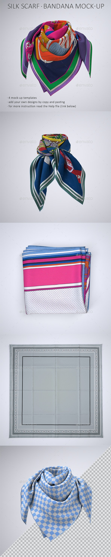 Square Silk Scarf or Bandana Mock-Up - Apparel Product Mock-Ups