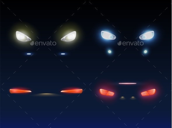 Car Front Back Headlights Realistic Vector Set - Man-made Objects Objects