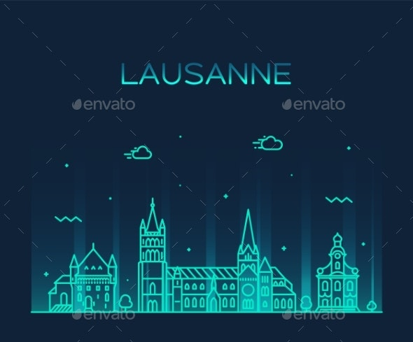 Lausanne Skyline Switzerland a Vector Linear Style - Buildings Objects