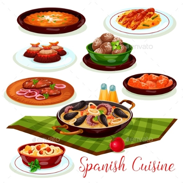 Spanish Cuisine Traditional Diches - Food Objects