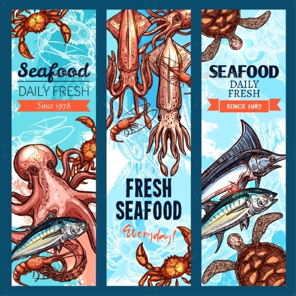 Seafood and Fish Market Banners - Animals Characters