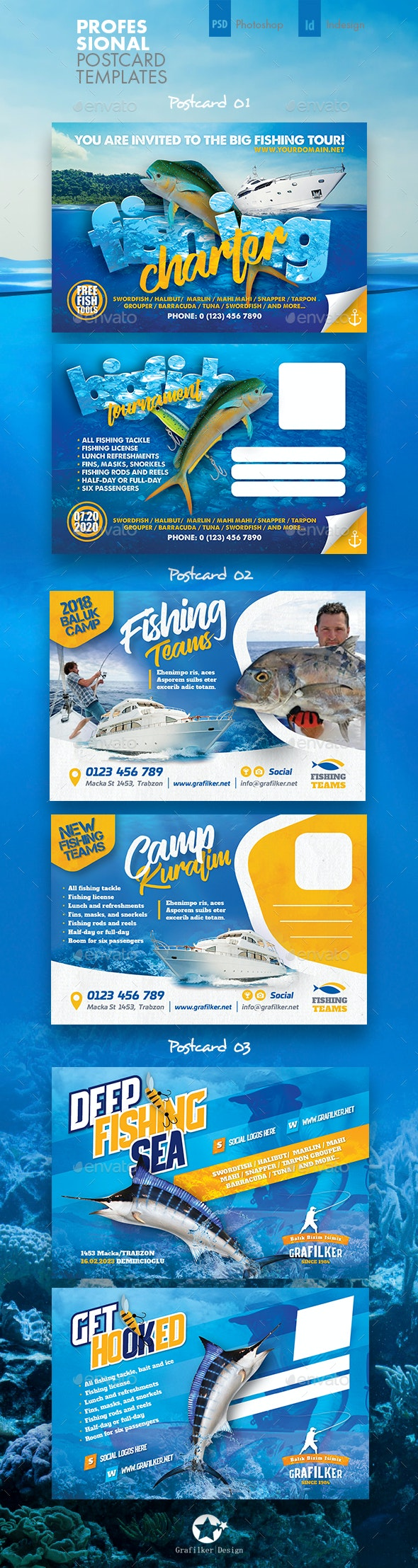 Fishing Tour Postcard Bundle Templates - Cards & Invites Print Templates