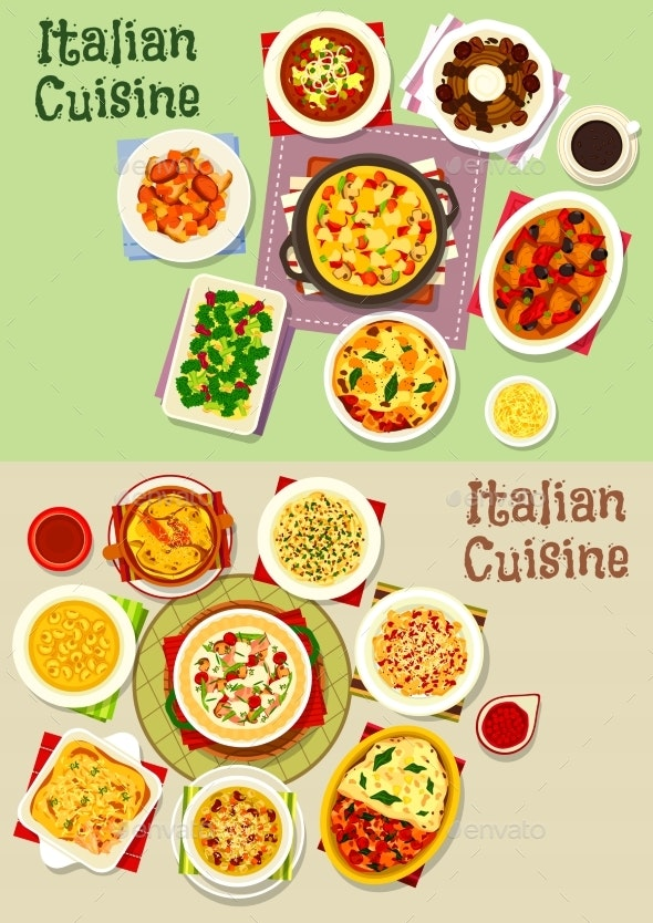 Italian Cuisine Pasta Dishes Icon Set, Food Design - Food Objects