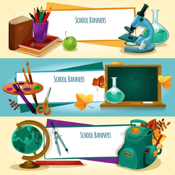School Supplies and Stationery Banners Templates - Conceptual Vectors