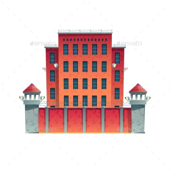 Prison Building with Observation Towers Vector - Buildings Objects