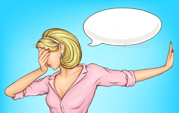 Disappointed Woman Making Facepalm Cartoon Vector - People Characters