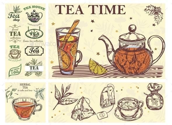 Sketch Tea Time Colorful Concept - Miscellaneous Vectors