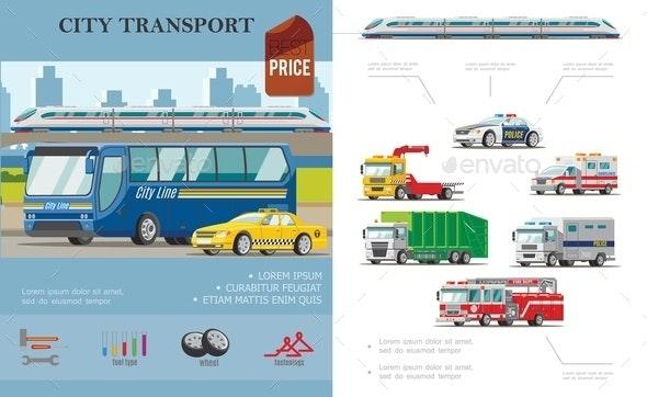 Flat City Transport Infographic Concept - Backgrounds Decorative