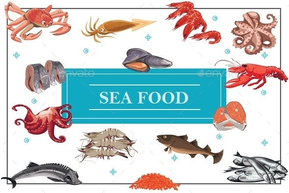 Flat Seafood Colorful Concept - Animals Characters
