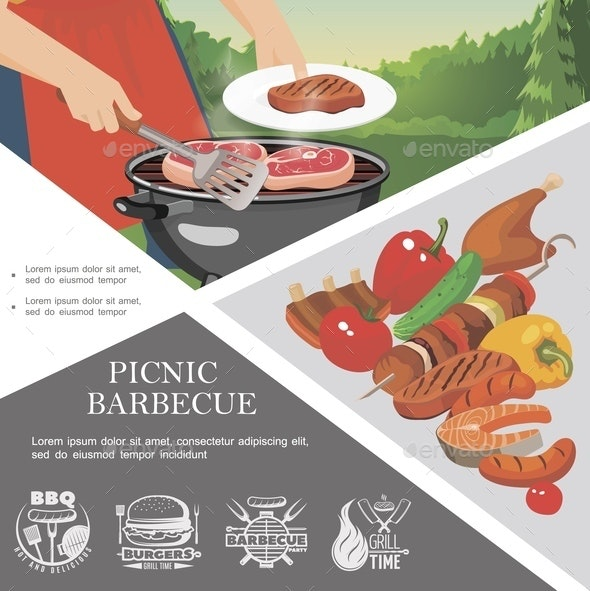 Flat Picnic Weekend Template - Food Objects