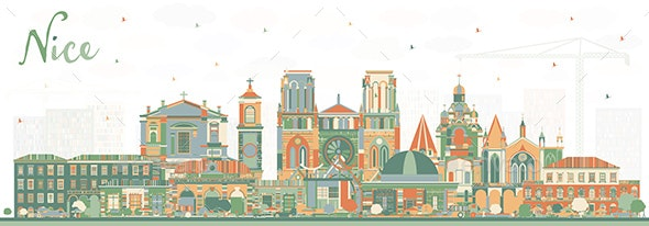 Nice France City Skyline with Color Buildings. - Buildings Objects