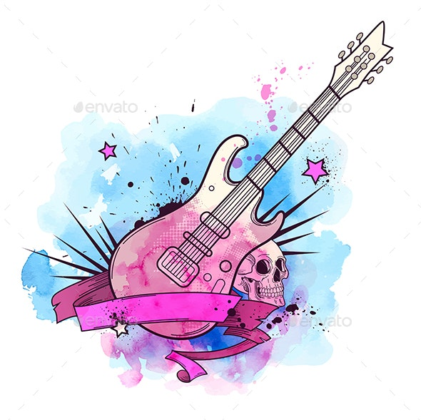 Watercolor Background with Electric Guitar - Miscellaneous Vectors