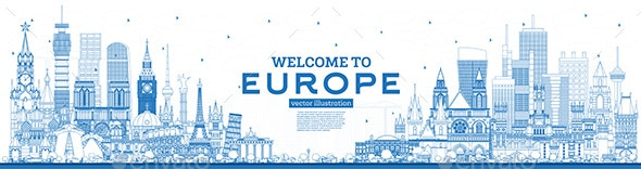 Outline Welcome to Europe Skyline with Blue Buildings. - Buildings Objects