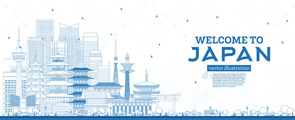 Outline Welcome to Japan Skyline with Blue Buildings. - Buildings Objects