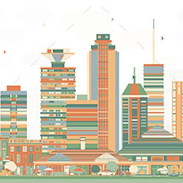 Nairobi Kenya City Skyline with Color Buildings.