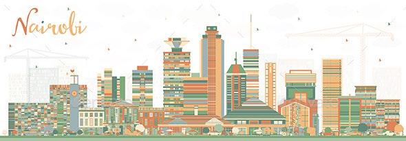 Nairobi Kenya City Skyline with Color Buildings. - Buildings Objects