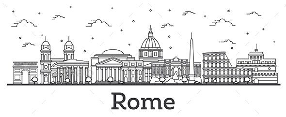 Outline Rome Italy City Skyline with Historic Buildings Isolated on White. - Buildings Objects