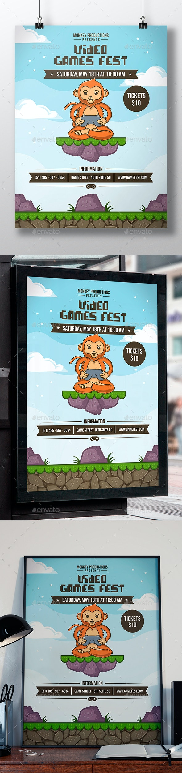 Monkey Gamer Flyer Template - Miscellaneous Events