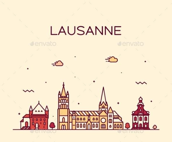 Lausanne Skyline Switzerland a Vector Linear Style - Buildings Objects