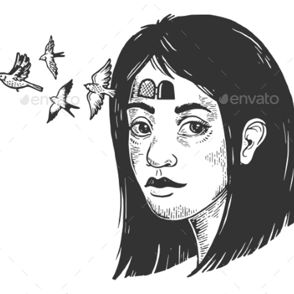 Birds Fly Out of Girl Forehead Sketch Engraving