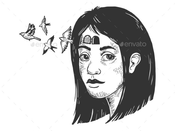 Birds Fly Out of Girl Forehead Sketch Engraving - Animals Characters