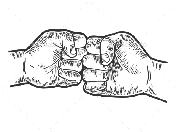 Fist Greeting Sketch Engraving Vector - People Characters