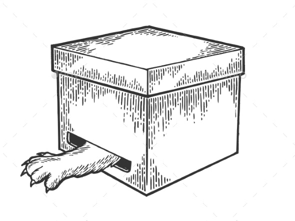 Cat in Box Paw in Hole Sketch Engraving Vector - Animals Characters