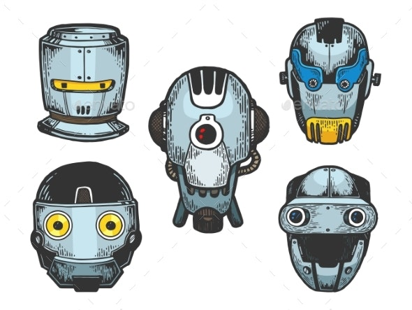 Cyborg Robot Heads Set Color Sketch Engraving - Computers Technology