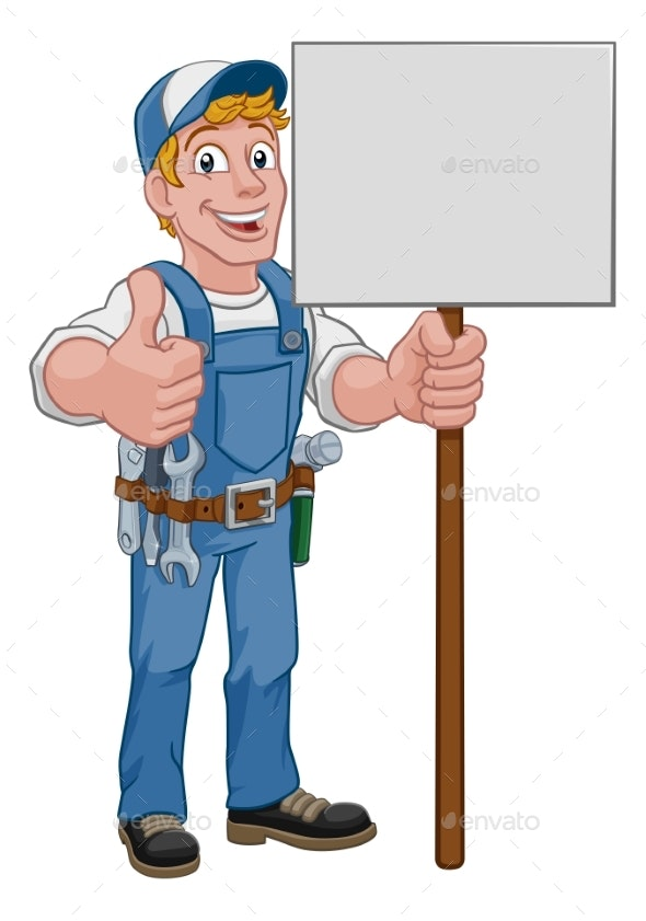Handyman Cartoon Caretaker Construction Sign Man - People Characters