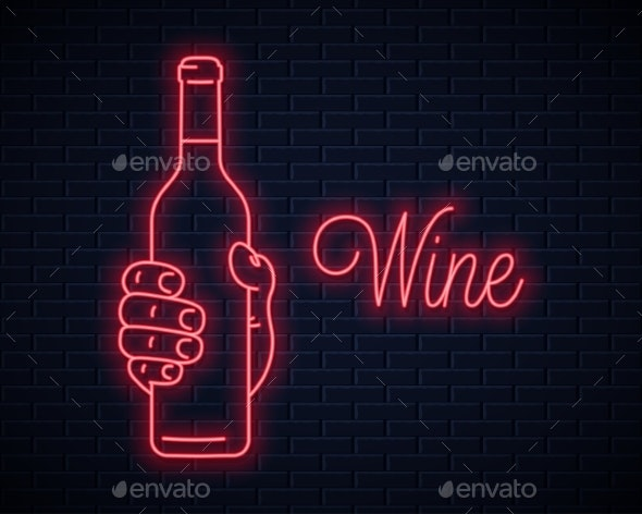 Hand Hold Wine Bottle Neon Sign - Food Objects