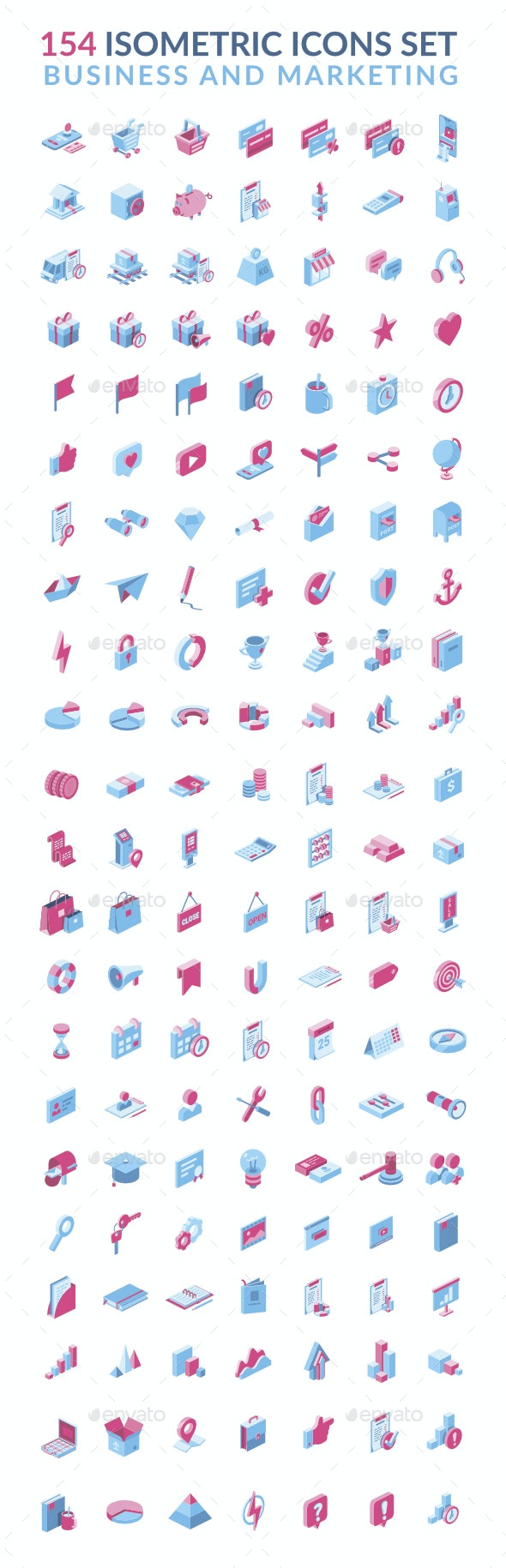 Business and Marketing 3D isometric icons set - Business Icons