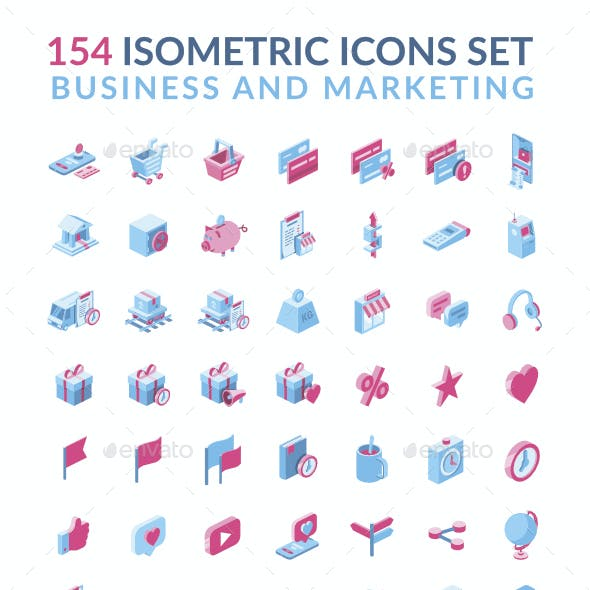 Business and Marketing 3D isometric icons set