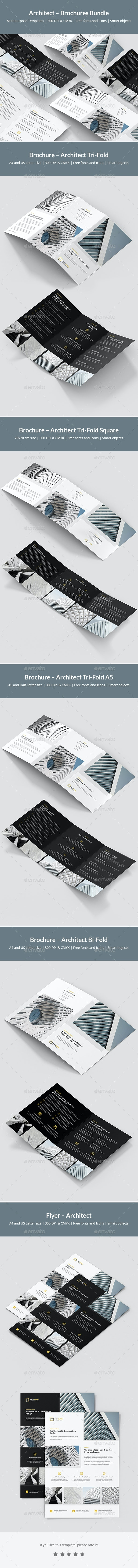 Architect – Brochures Bundle Print Templates 5 in 1 - Corporate Brochures