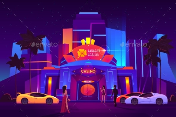 Gamblers Arriving To Casino Cartoon Vector Concept - Buildings Objects