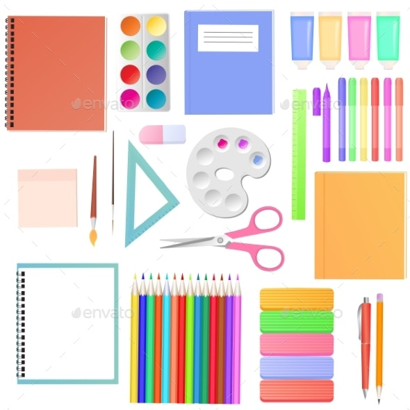 Stationery Set of School Supplies for Students - Man-made Objects Objects