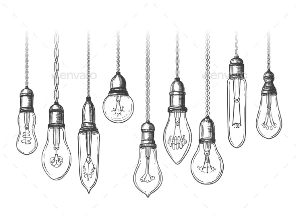 Vintage Lightbulbs Sketch - Man-made Objects Objects