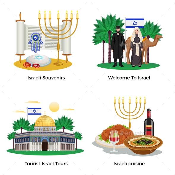 Israel Concept Icons Set - Religion Conceptual