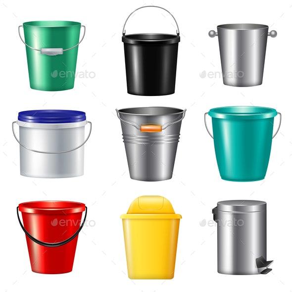 Realistic Buckets Icon Set - Miscellaneous Vectors
