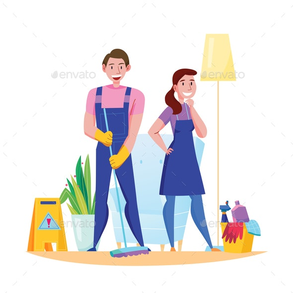 Cleaning Service Flat Composition - Industries Business