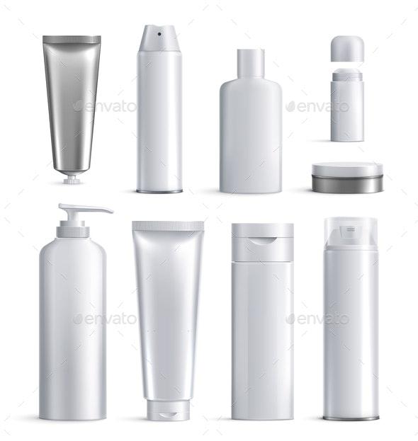Mens Cosmetics Bottles Realistic Icon Set - Health/Medicine Conceptual