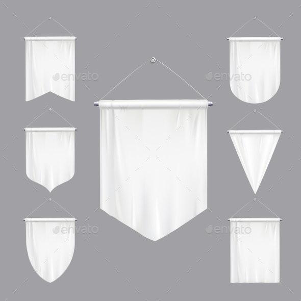 White Pennants Realistic Set - Miscellaneous Vectors
