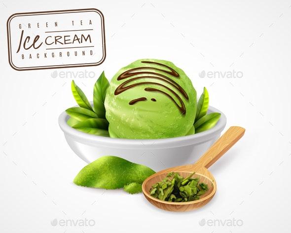 Green Tea Icecream Composition - Food Objects