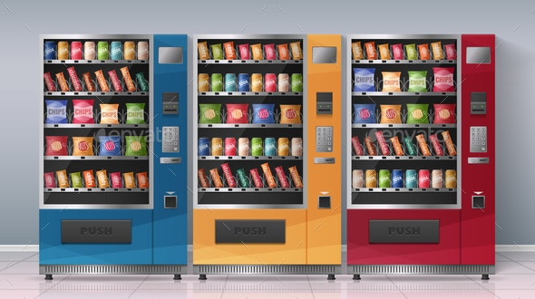 Vending Machines Realistic Vector Illustration - Food Objects