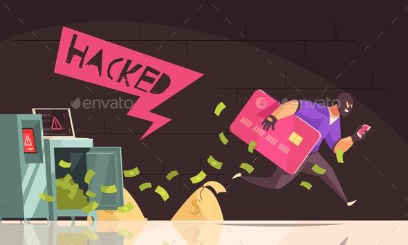 Hacker Runs Away Composition - Miscellaneous Conceptual