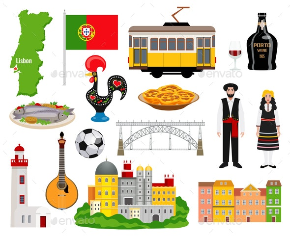Portugal Tourism Icons Set - Food Objects