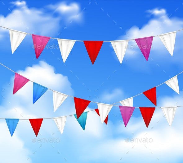 Party Pennants Slinger Realistic - Miscellaneous Vectors