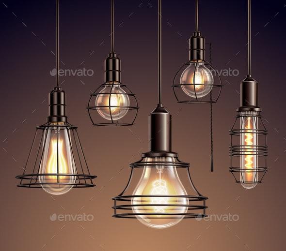 Vintage Light Bulbs Realistic Set - Miscellaneous Vectors