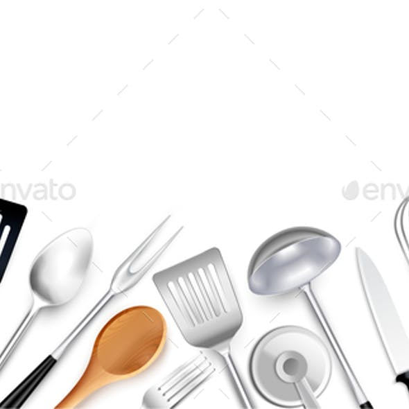 Realistic Cooking Tools Background