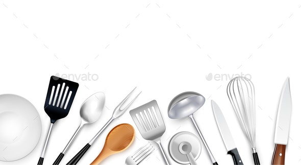 Realistic Cooking Tools Background - Food Objects