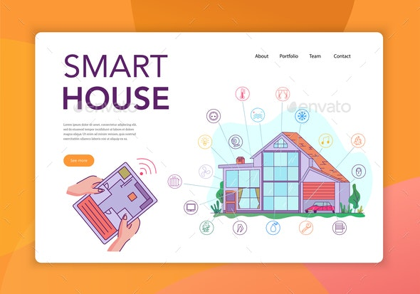 Smart House Concept Banner - Buildings Objects